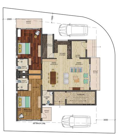 Palms Valley Riverdale, Villa Floor Plan 4 bedroom home